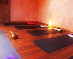 The indoor yoga space